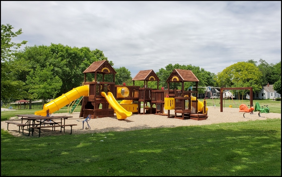 Playground camping in Mason City, Iowa
