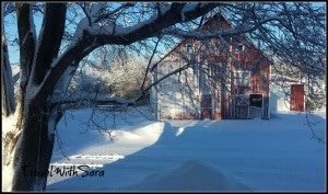 View of barn after blizzard