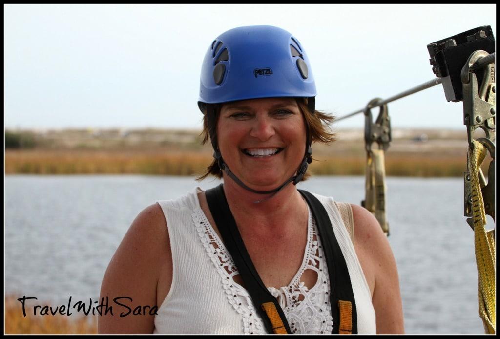 Sara ziplining with helmet