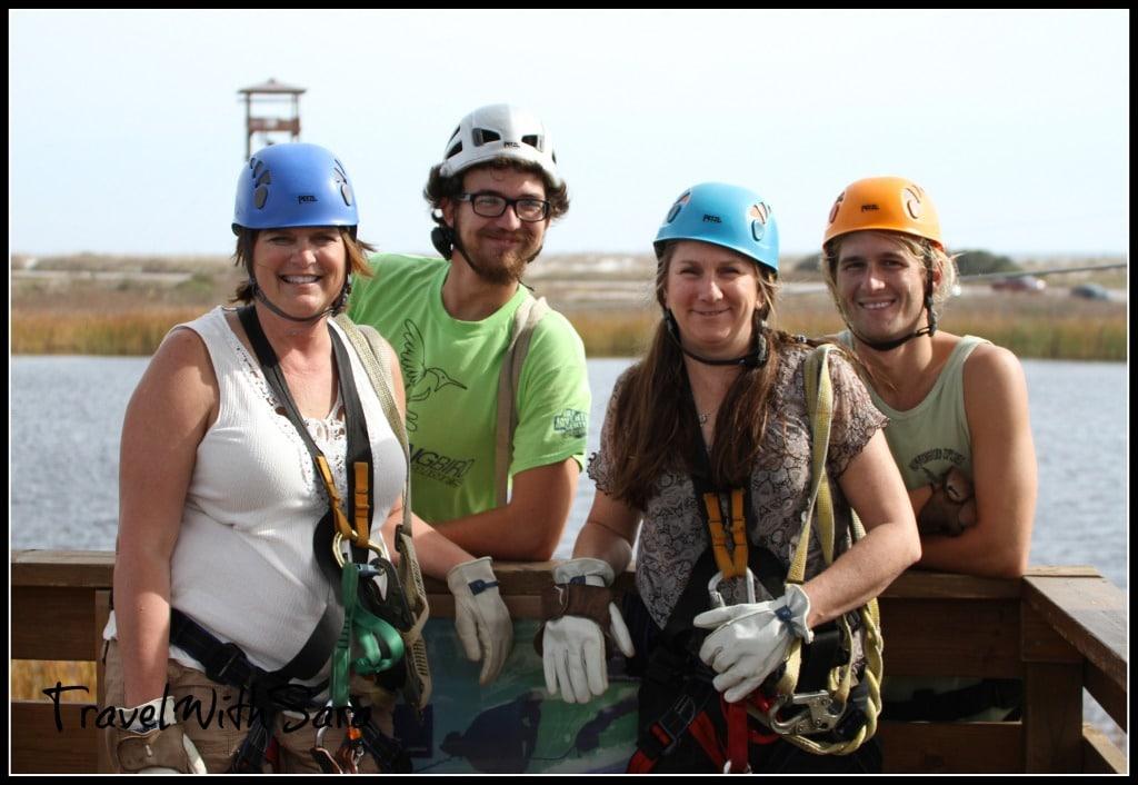 Ziplining team