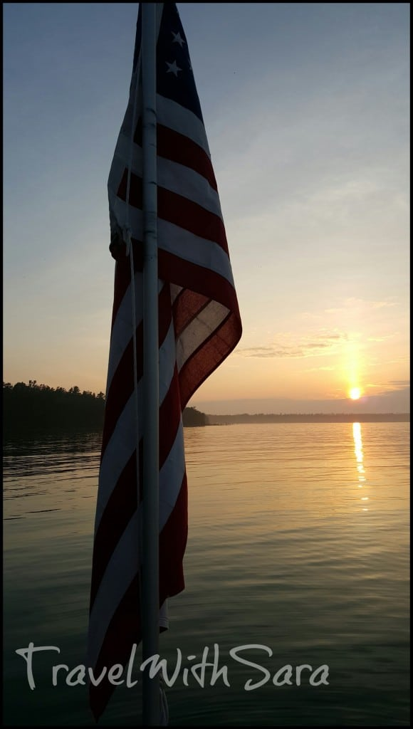 Flag and sunset at Gordon Lodge