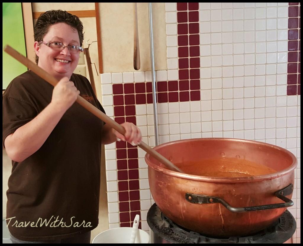 Stirring Caramel at Rocky Mountain Chocolate Factory