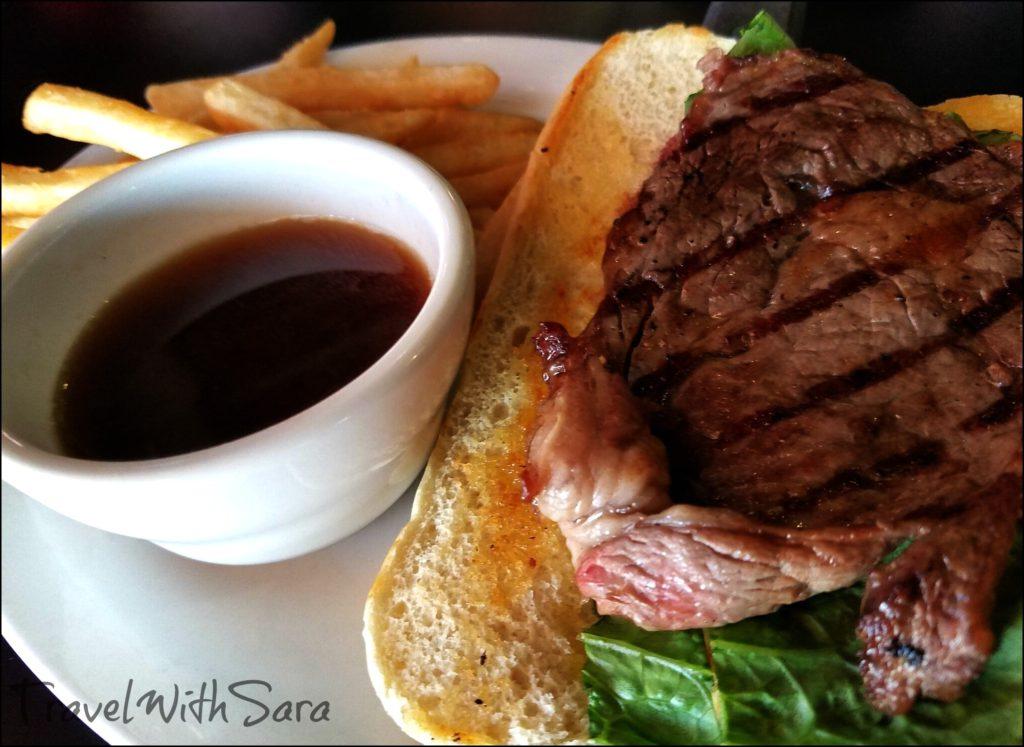 steak sandwich at the pub