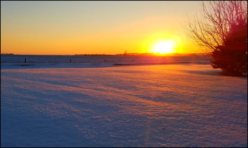 blanket of snow with sun
