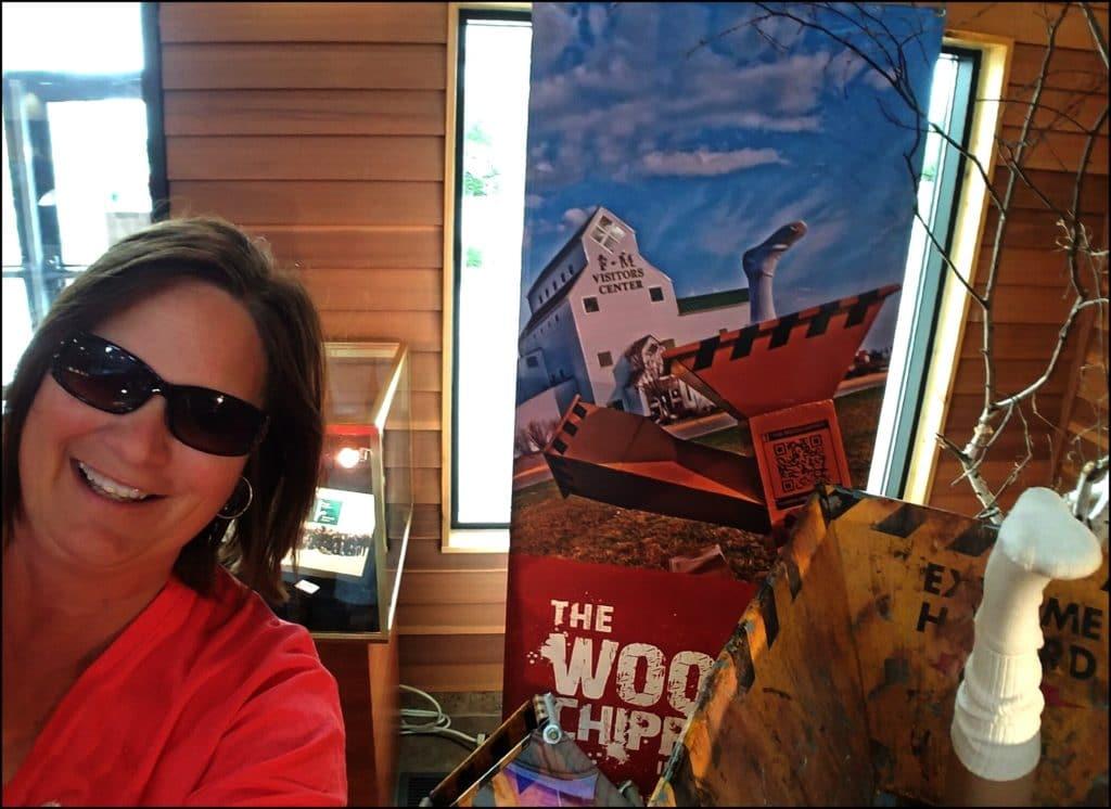 Sara selfie with woodchipper