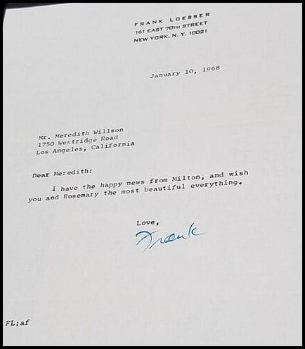 Meredith Willson letter