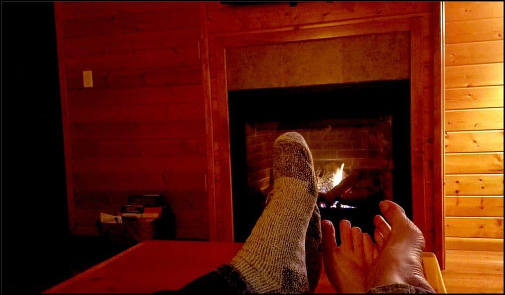 feet around fireplace