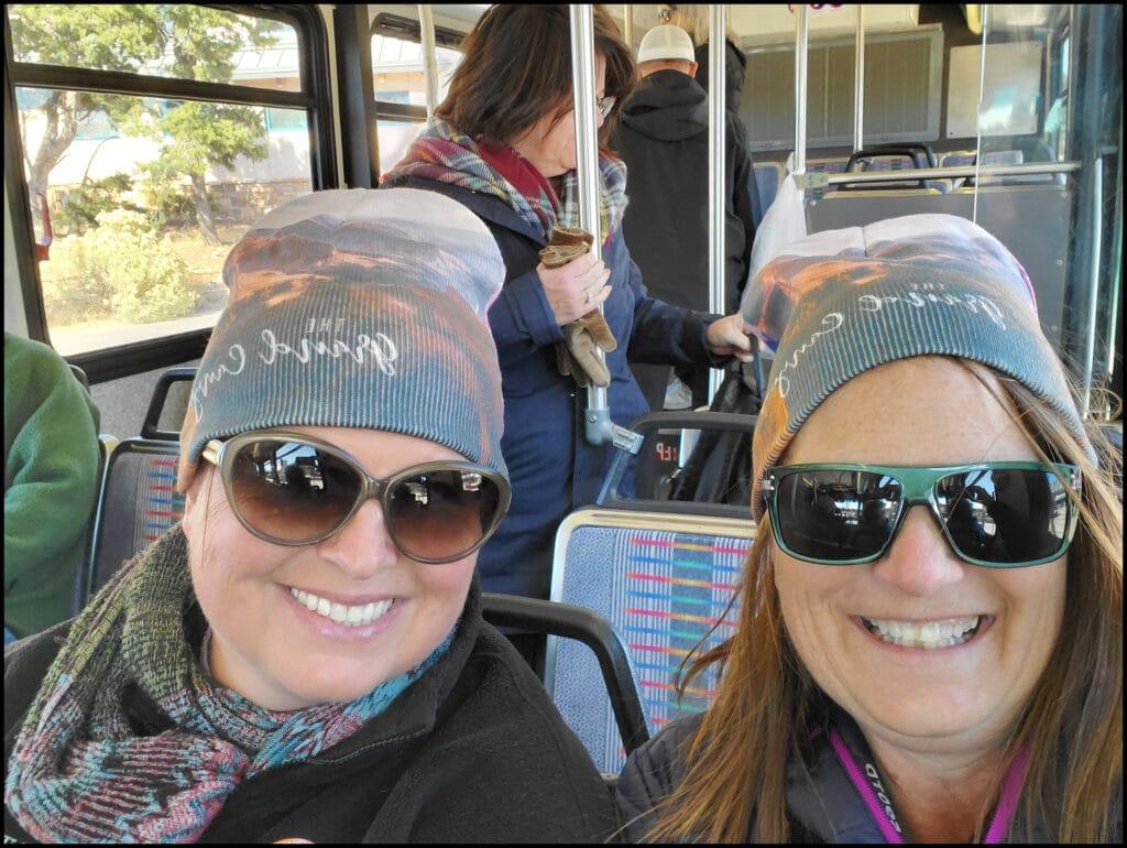 Sara and Melody on bus at Grand Canyon