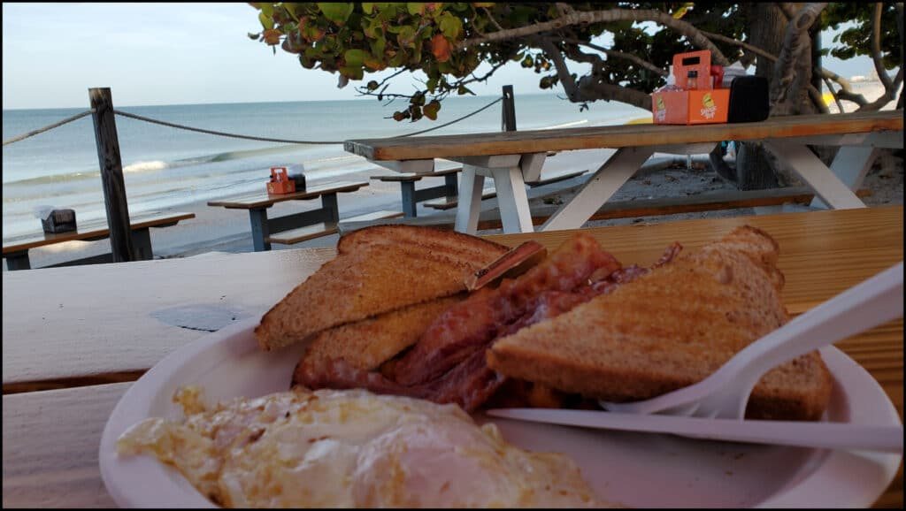 Breakfast in Pass a Grille on beach