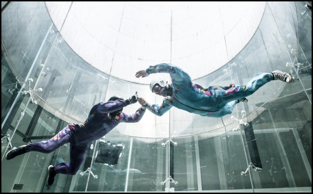 skydiver indoors